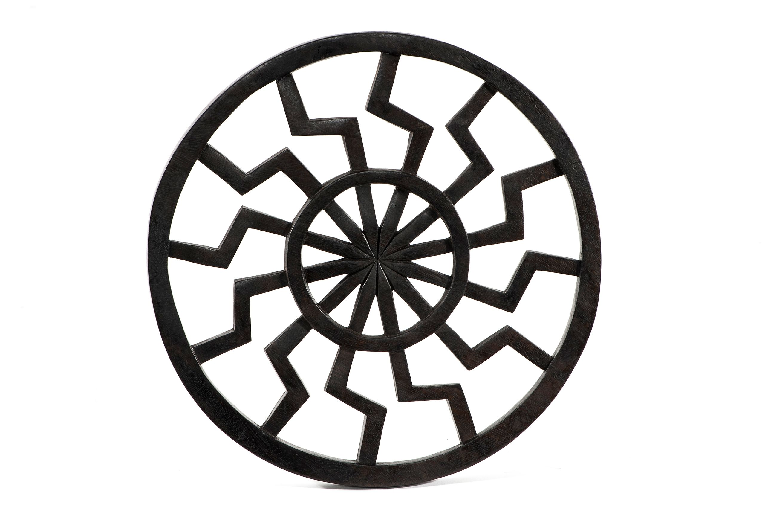 deutsches warenhaus wanddeko schwarze sonne 22 cm schwarz aus holz. Black Bedroom Furniture Sets. Home Design Ideas