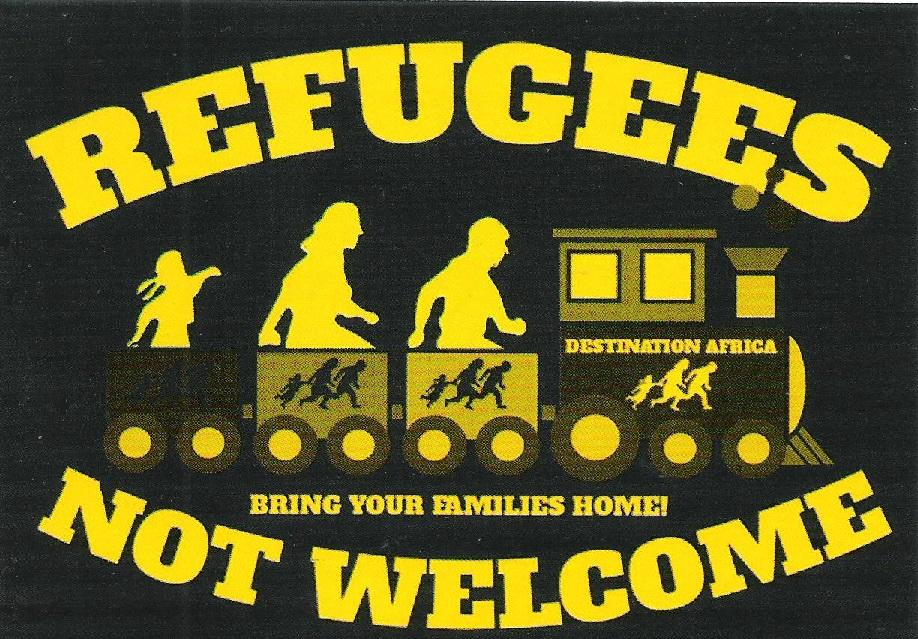 Deutsches Warenhaus Aufkleber Refugees Not Welcome